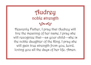 GIRL Audrey prayer plaque with border